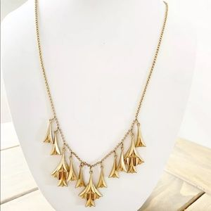 J Crew Gold  Pendants Chain Necklace Bell Flower